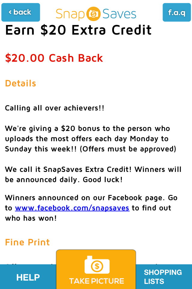 $20 Cash Back SnapSaves
